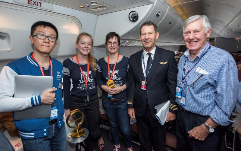 Classroom Antarctica Team in photo with Qantas captain on board aeroplane